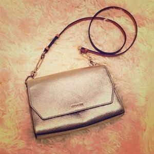 Coach Metallic Gold Leather Crossbody / Clutch Bag